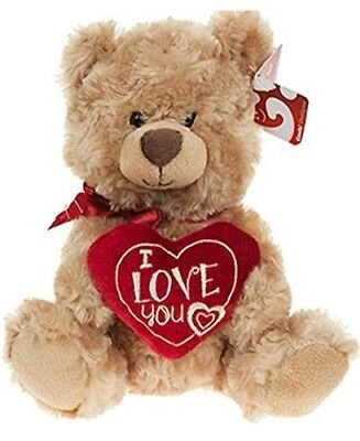 """Soft Plush Teddy Bear Holding Love Heart Valentines Gift 10"""" inches Tall"""