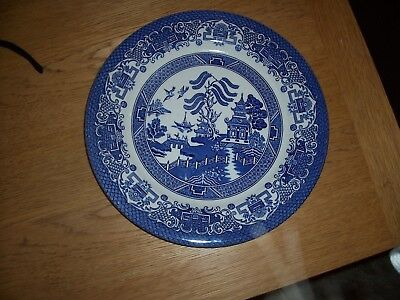 Blue and White Willow Pattern Plate by EIT England 10.25 inch Diameter