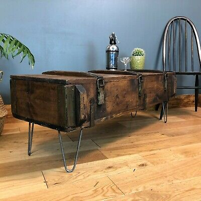 Vintage Trunk Chest box Rustic Pine Industrial Coffee table Upcycled Boho
