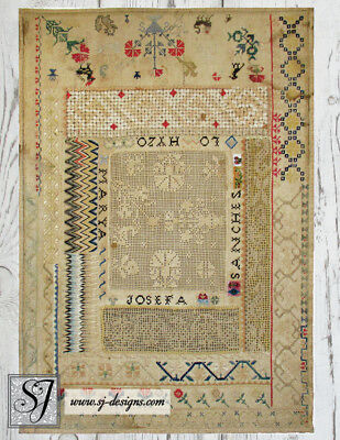 c1830 Mexican Sampler with Flame stitch, Filet lace cross stitch and beads 14x20
