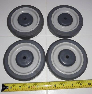 """Set 4 Gray Soft Rubber 5"""" x 1-1/4"""" Shopping Cart Wheel with 5/16"""" ID Center hole"""