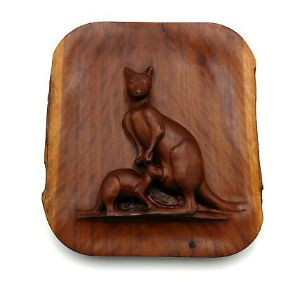 Vintage Hand Carved Wood Kangaroo and Joey Wall Plaque Hanging Australia
