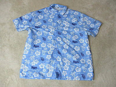 Tampa Bay Rays Hawaiian Shirt Adult Extra Large Blue Baseball Button Up Mens C
