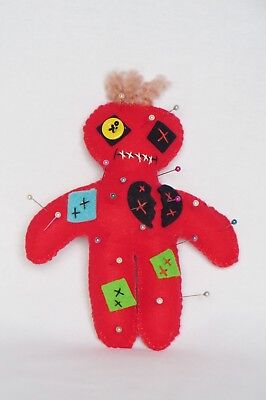 Pincushion Voo Doo doll, Red, Gift idea for a Seamstress!
