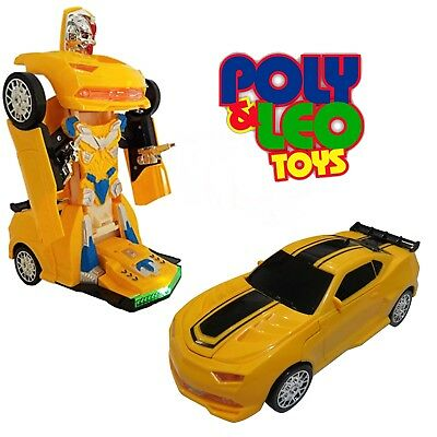 Light Up Transformers Bump And Go Car Autobot Yellow Car Toy Action Sound