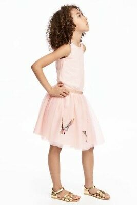 H&M Girls Tulle Light Pink Skirt With Birds And Gold Glittery Waist Size 6 New
