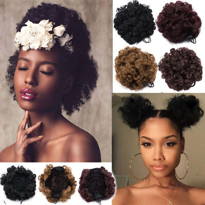Afro Bun Puff Drawstring Clip in Curly Hair Updo Chignon As Human Extensions HYT