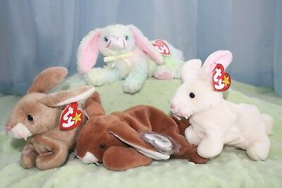 Ty Beanie Baby Easter Bunnies-Nibbler, Nibbly, Ears, Cottonball-New With Tags