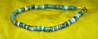 Vintage Turquoise And Sterling Silver Small Roundell Bead Bracelet Fr Ship *sale