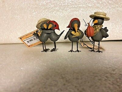 Blossom Bucket - New - Old Stock - 2010 - Set Of 3 Crow Figurines - Fall By Suzi