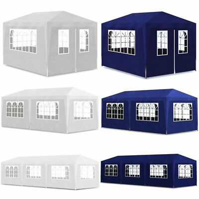 13/20/30' x 10' x 8' Party Tent Marquee Garden Gazebo Shelter Canopy Blue/White