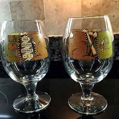 New Belgium Brewing 16Oz New Pair Of Globe Shaped Beer Glasses