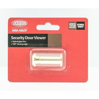 Lockwood 160° SECURITY DOOR VIEWER Glass Lens, Polished Brass *Australian Brand