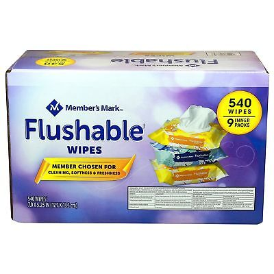 9 Packs (60 each) 540 Hypoallergenic Cleaning Flushable Baby Wipes Fresh Scent