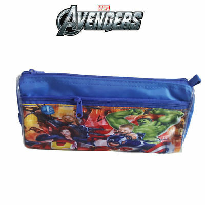 Marvel Toy Avengers Kids School Stationery Blue Zip Canvas Pencil Case Pouch Box