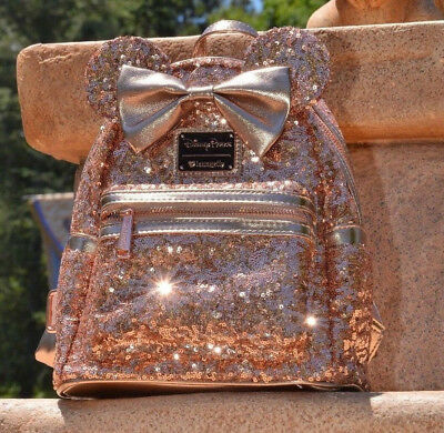 Disney Parks Minnie Mouse Rose Gold Sequined Bow Loungefly Backpack New Version