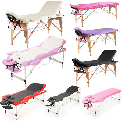 Wooden/Aluminum Foldable Massage Table Tattoo Beauty Salon Therapy Couch Bed UK