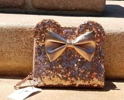 Minnie Mouse Rose Gold Disney Parks Sequined Loungefly wallet- NWT