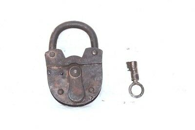 1900s Old Vintage Antique Rare Iron Brass Lock and Key Collectible PC3