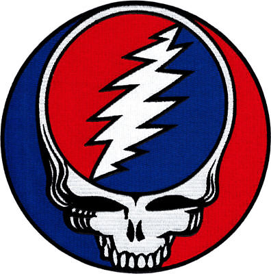 """Grateful Dead Steal Your Face Embroidered iron on Patch 8"""" circle LARGE BACK"""