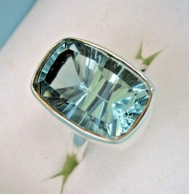 Solid Sterling Silver - Huge 8 Carats - Blue Topaz Ring - Sizes 7 & 8