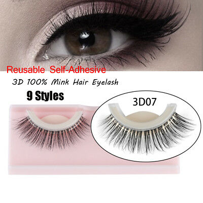 SKONHED 1 Pair 3D Mink Hair Self-Adhesive False Eyelashes Wispy Reusable Lashes.