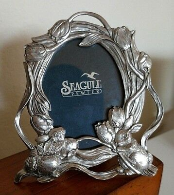 "1997 Seagull Pewter Bunny Rabbits with Tulips 4-1/2"" Picture Frame Vintage"