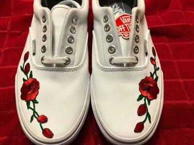 244908dd1d2 Rose Buds (Red) Custom Embroidered Vans Era White Shoe Mens 8.5 Womens 10