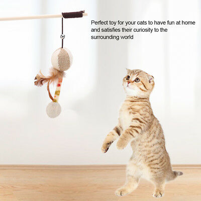 Funny Cat Kitten Pet Teaser Wand Wire Chaser Toy Wand Beads Play Interactive