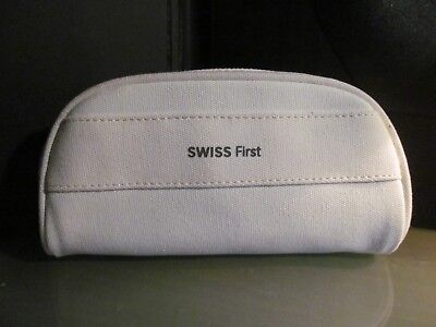 """""""SWISS FIRST"""" airline amenity kit bag white holder travel case cosmetic SWISSAIR"""