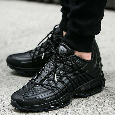 innovative design 284bc b48b3 NIKE AIR MAX 95 Ultra Se Premium All Triple Black Uk 7.5 Eur 42 Us 8.5 Tn  Plus