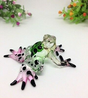 Frog Hand Blown Glass Animal Figurine Miniature Collectible Gift Home Decor