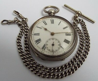 Nice Antique 1923 Solid Silver Pocket Watch & Double Albert Chain Non Runner