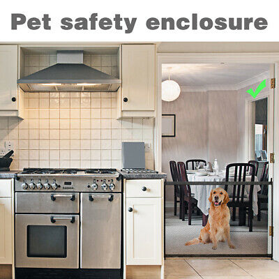 Retractable Woven Mesh Pet Dog Gate Safety Enclosure for Home Door Hall PS254