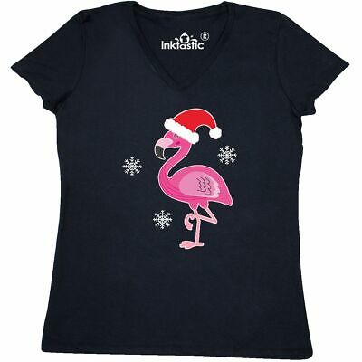 90a7af973 Inktastic Christmas Holiday Cute Flamingo Women's V-Neck T-Shirt First  Girls Day