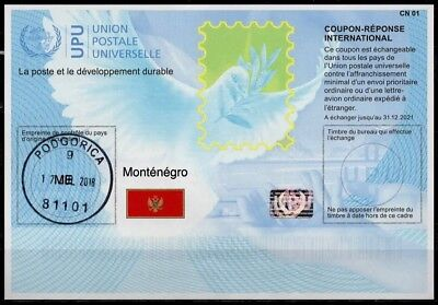 MONTENEGRO Is41  20180215 AA Int. Reply Coupon Reponse Antwortschein IRC IAS oo