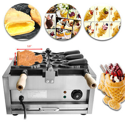 Commercial Nonstick Electric 3pcs Fish Waffle Ice Cream Taiyaki Maker Good Item