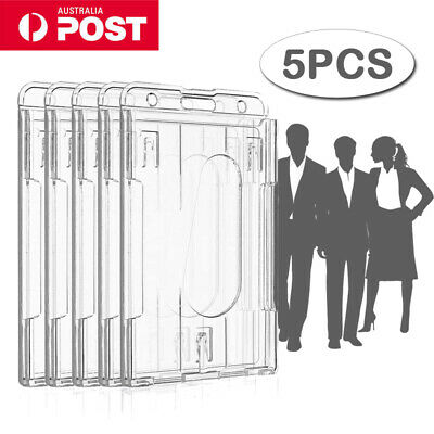 10pcs Hard Plastic Badge ID Card Holder Lanyard Business Work Pouch Double Side