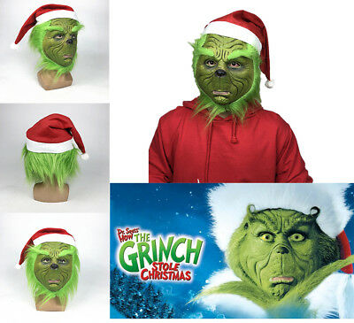Grinch Stage Convention Cosplay Full Mask For How the Grinch Stole Christmas