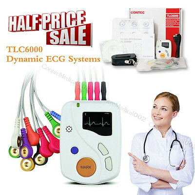 12 Channel ECG Holter 48 Hours Dynamic EKG Systems Recorder / Analyzer +Software