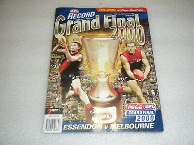 AFL footy Football Record 2000 Grand Final magazine MCG edition with poster