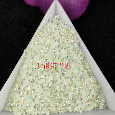 2-6mm White Jelly AB Crystl Resin Flatback Nail Art Rhinestones Beads