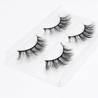 2 Pair 3D Faux Mink Natural False Eyelashes Thick Volume Long Lashes Extension M