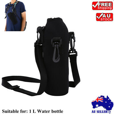 1L Neoprene Water Bottle Shoulder Carrier Insulated Cover Bag Holder Drink AU