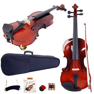 New Hot 1/8 Size Solid Wood Natural Color Acoustic Violin + Fiddle Accessories