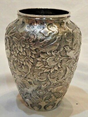 Antique Repousse Silver Vase with Animal Forest Scene