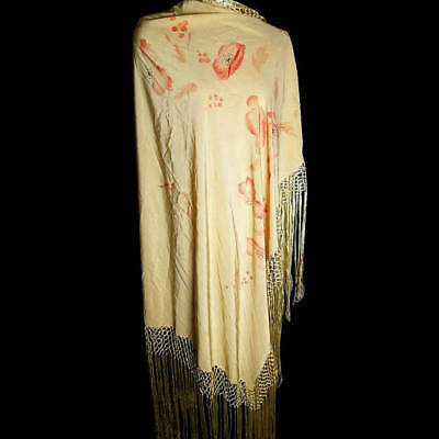 Vintage 1920's silk piano shawl, large hand printed, poppy and butterfly, yellow