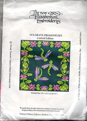 """Vintage Canvas Sulgrave Dragonflies"""" Limited Edition TAPESTRY KIT SMALL CUSHION"""