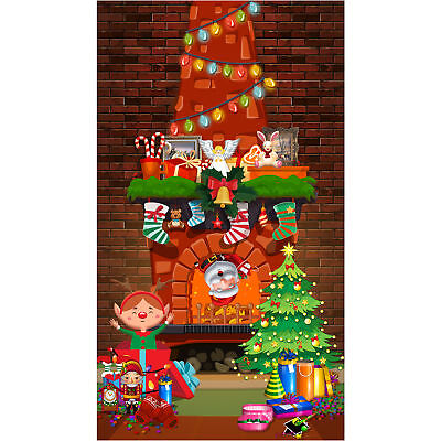 Christmas Wall Scene Setters Fireplace Mantel Backdrop Photography Background