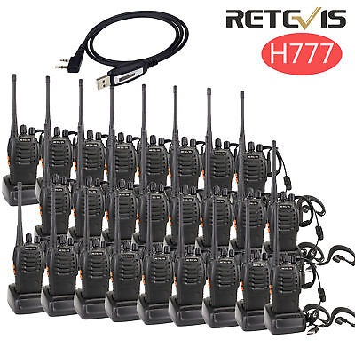 8XRetevis H777 Walkie Talkie UHF 5W 16CH CTCSS//DCS 2Way Radio/&Earpiece+Cable US